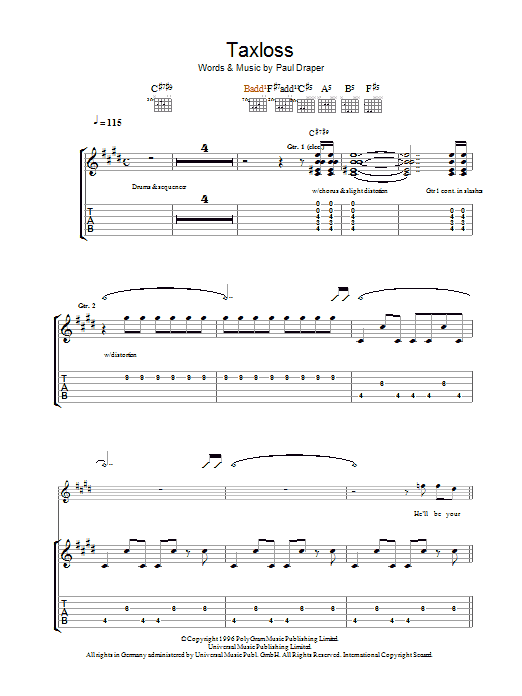 Mansun Taxloss sheet music preview music notes and score for Guitar Tab including 6 page(s)