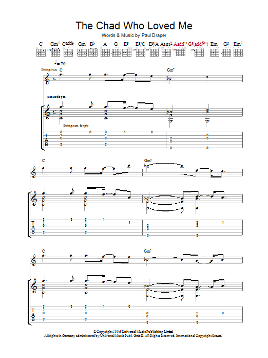 Mansun The Chad Who Loved Me sheet music preview music notes and score for Guitar Tab including 9 page(s)