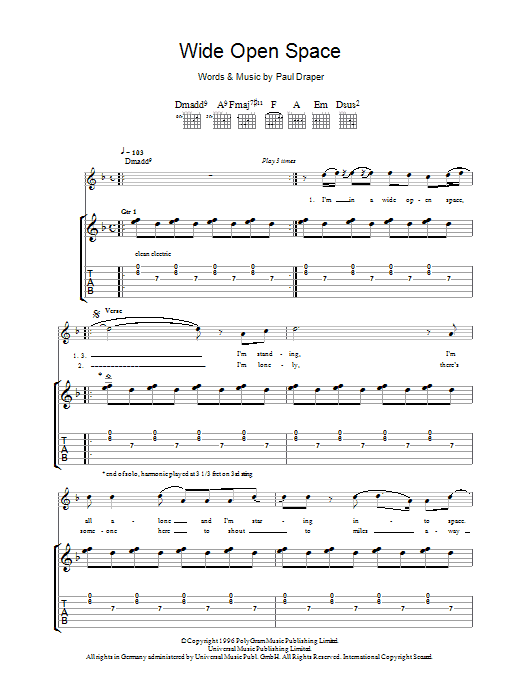 Mansun Wide Open Space sheet music preview music notes and score for Guitar Tab including 8 page(s)