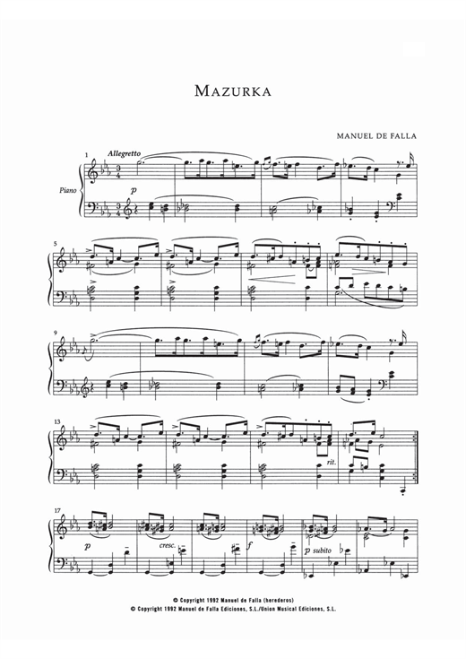 Manuel De Falla Mazurka In Do Menor sheet music notes and chords