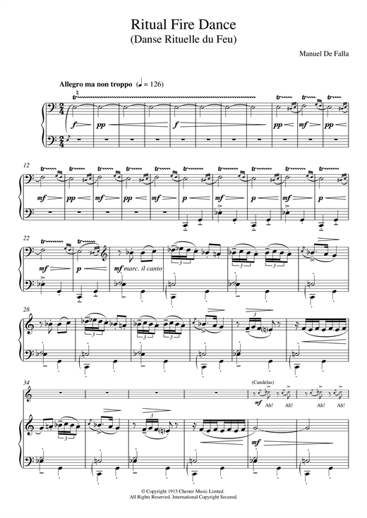 Download Manuel De Falla 'Ritual Fire Dance' Digital Sheet Music Notes & Chords and start playing in minutes