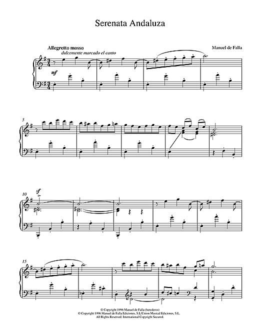 Download Manuel De Falla 'Serenata Andaluza' Digital Sheet Music Notes & Chords and start playing in minutes