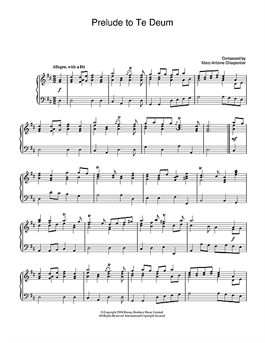 Download Marc-Antoine Charpentier 'Prelude (from Te Deum)' Digital Sheet Music Notes & Chords and start playing in minutes