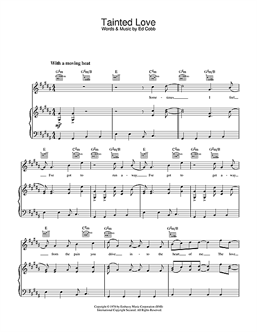 Marc Almond & Soft Cell Tainted Love sheet music notes and chords