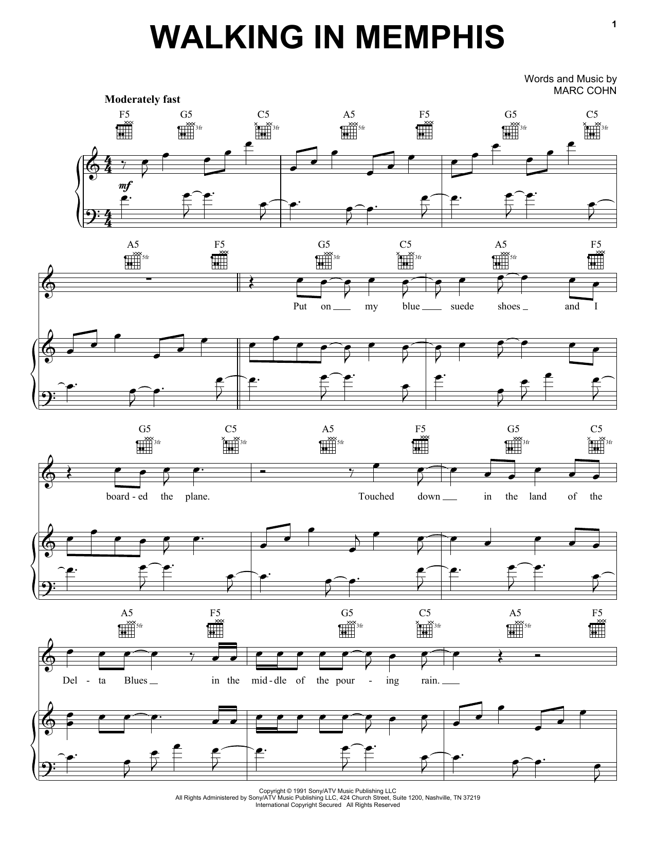 Marc Cohn Walking In Memphis sheet music preview music notes and score for Lyrics & Piano Chords including 4 page(s)