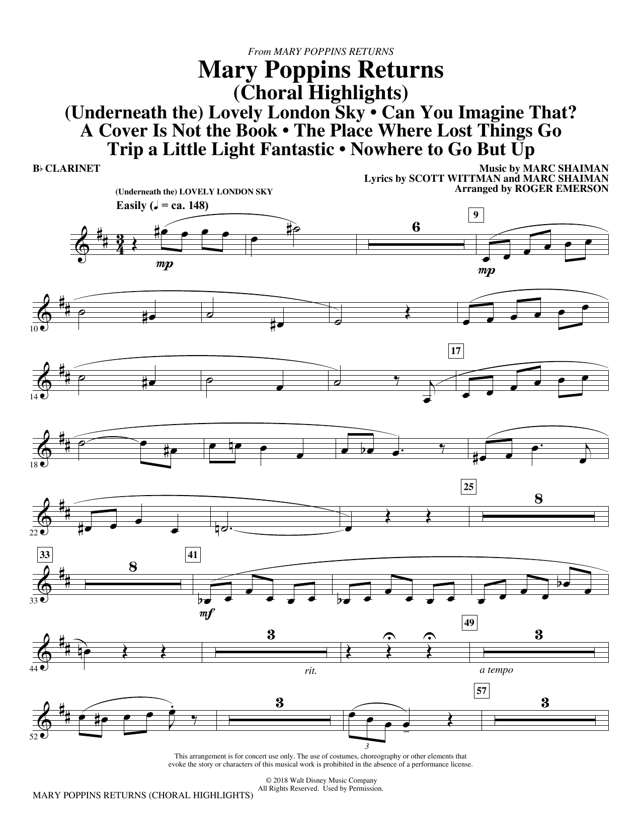 Marc Shaiman & Scott Wittman Mary Poppins Returns (Choral Highlights) (arr. Roger Emerson) - Bb Clarinet sheet music preview music notes and score for Choir Instrumental Pak including 6 page(s)
