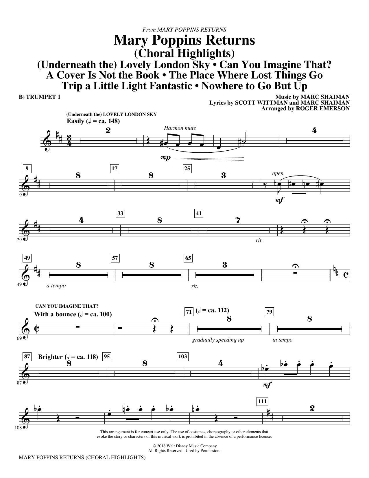 Marc Shaiman & Scott Wittman Mary Poppins Returns (Choral Highlights) (arr. Roger Emerson) - Bb Trumpet 1 sheet music preview music notes and score for Choir Instrumental Pak including 6 page(s)