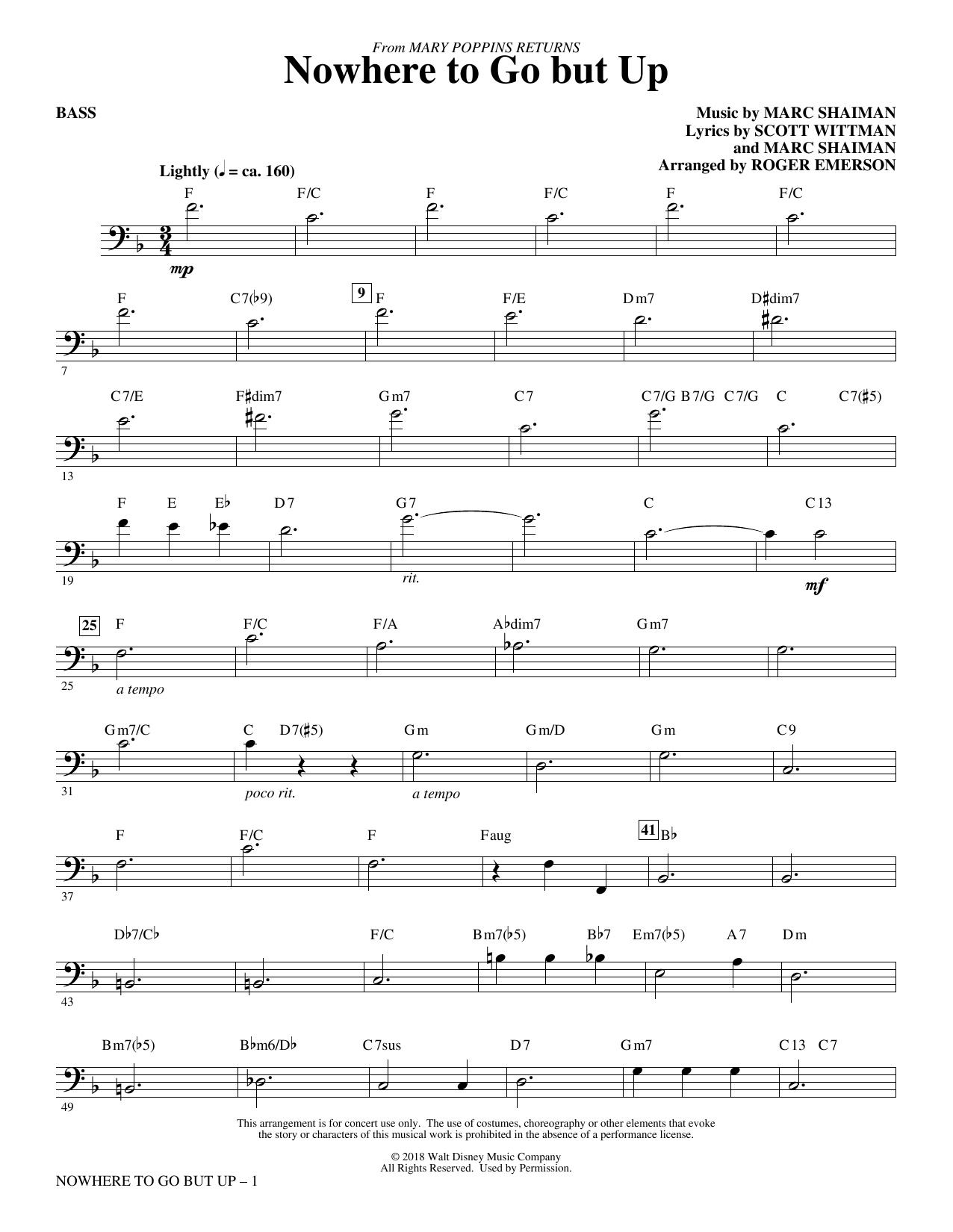 Marc Shaiman & Scott Wittman Nowhere to Go But Up (from Mary Poppins Returns) (arr. Roger Emerson) - Bass sheet music preview music notes and score for Choir Instrumental Pak including 3 page(s)