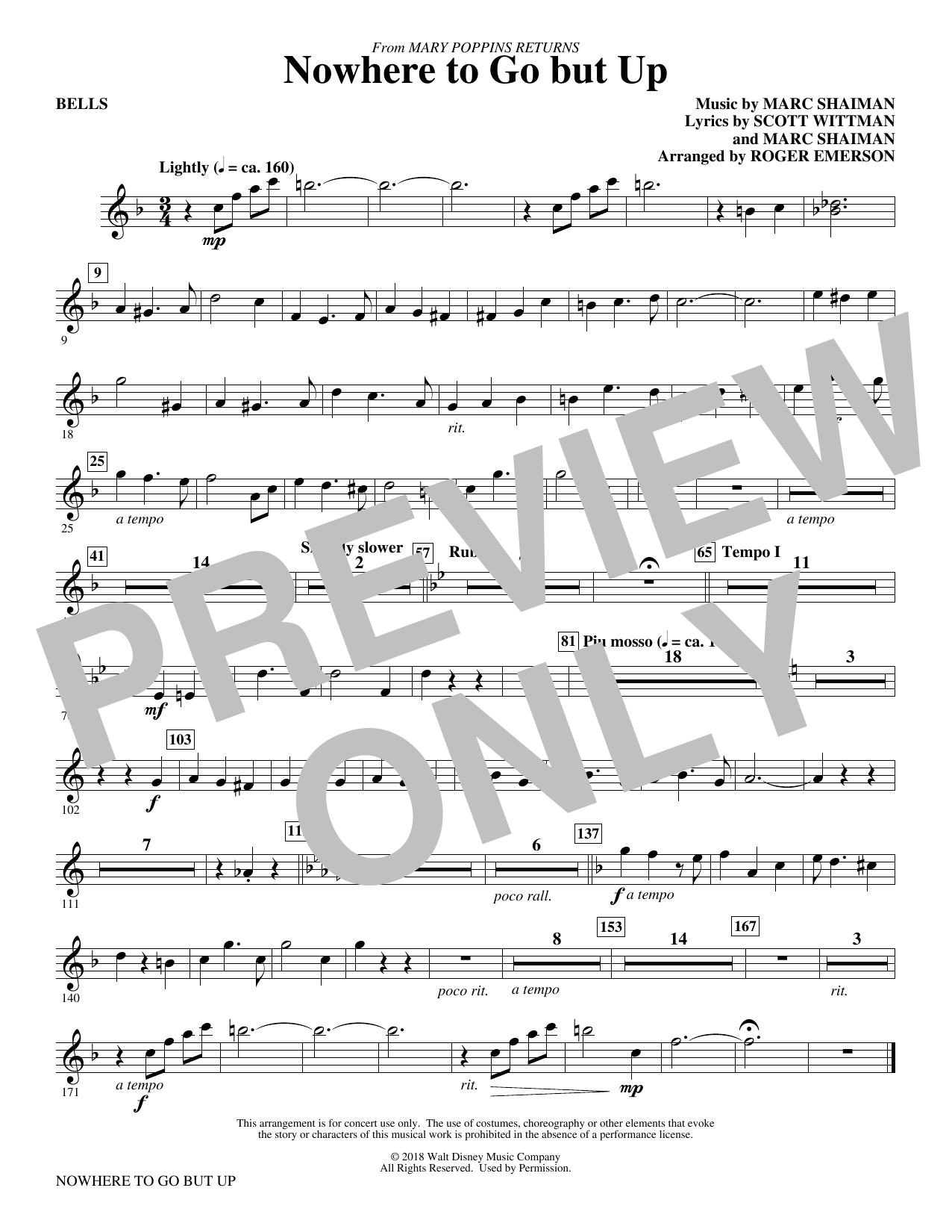 Marc Shaiman & Scott Wittman Nowhere to Go But Up (from Mary Poppins Returns) (arr. Roger Emerson) - Bells sheet music preview music notes and score for Choir Instrumental Pak including 1 page(s)