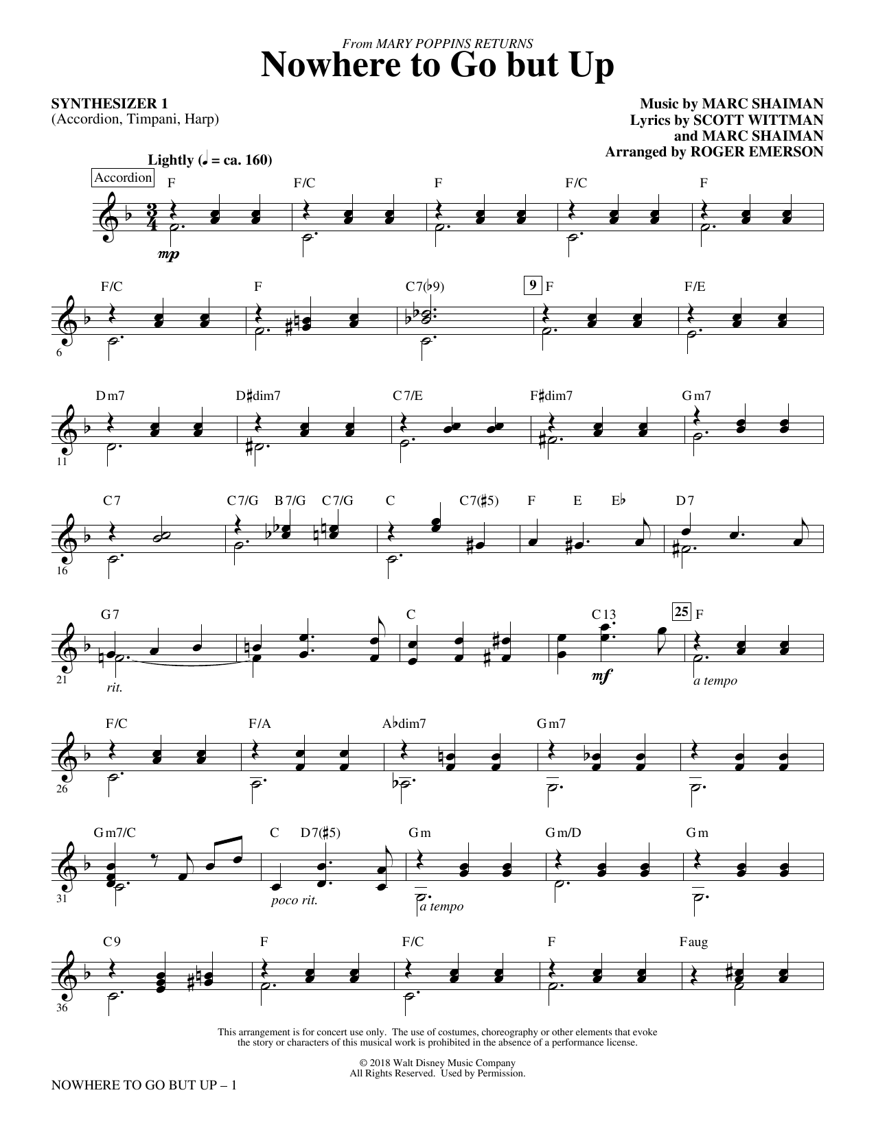 Marc Shaiman & Scott Wittman Nowhere to Go But Up (from Mary Poppins Returns) (arr. Roger Emerson) - Synthesizer I sheet music preview music notes and score for Choir Instrumental Pak including 3 page(s)