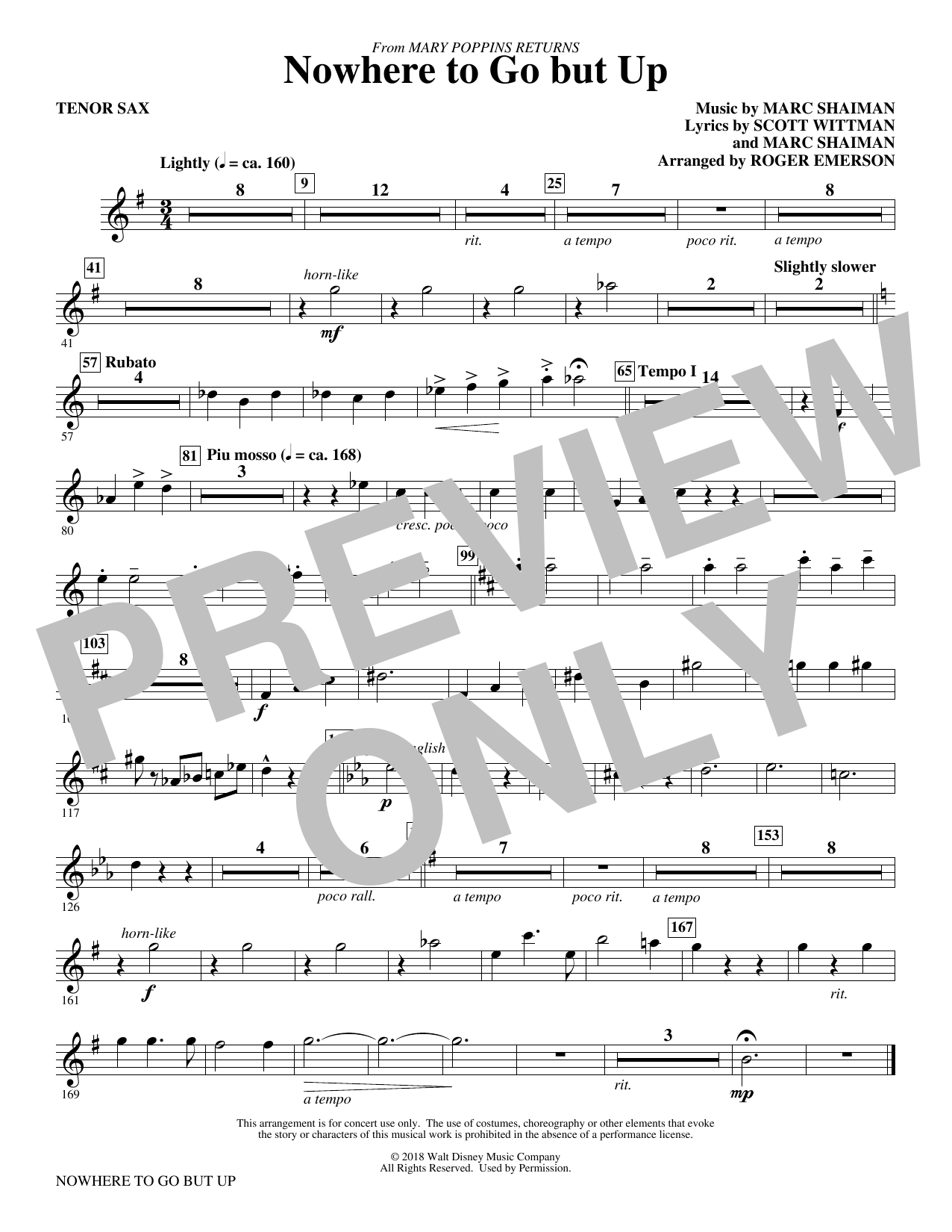 Marc Shaiman & Scott Wittman Nowhere to Go But Up (from Mary Poppins Returns) (arr. Roger Emerson) - Tenor Saxophone sheet music preview music notes and score for Choir Instrumental Pak including 1 page(s)