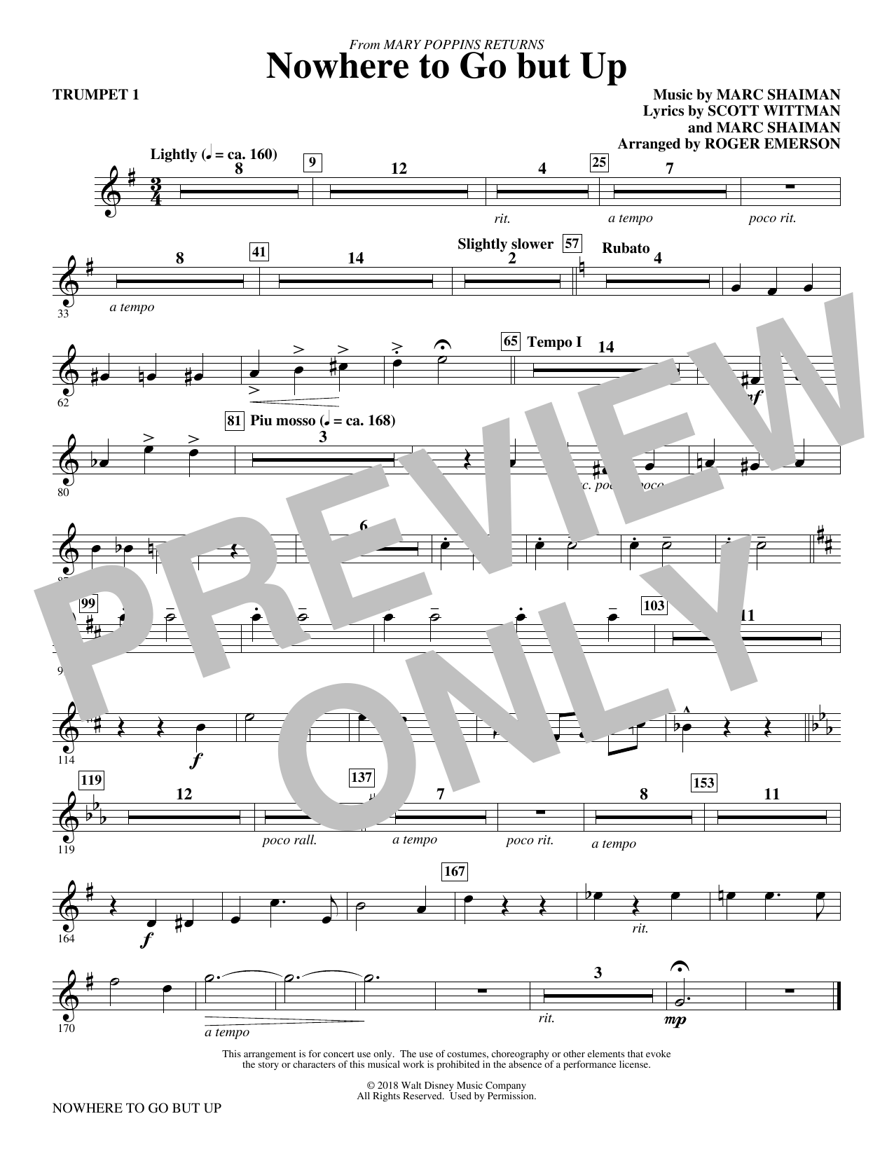 Marc Shaiman & Scott Wittman Nowhere to Go But Up (from Mary Poppins Returns) (arr. Roger Emerson) - Trumpet 1 sheet music preview music notes and score for Choir Instrumental Pak including 1 page(s)