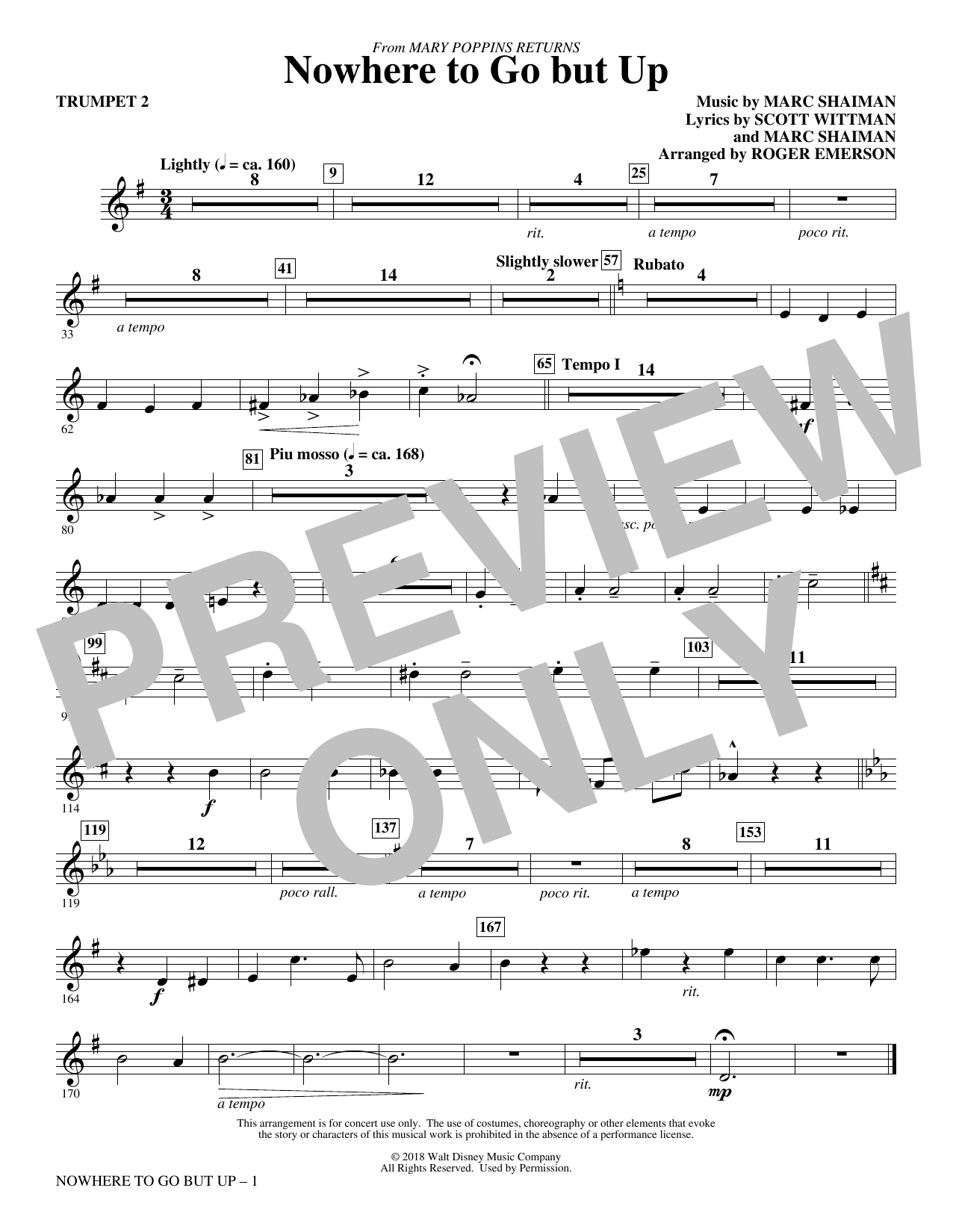 Marc Shaiman & Scott Wittman Nowhere to Go But Up (from Mary Poppins Returns) (arr. Roger Emerson) - Trumpet 2 sheet music preview music notes and score for Choir Instrumental Pak including 1 page(s)