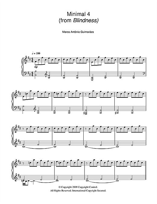 Download Marco Antonio Guimaraes 'Minimal 4 (from Blindness)' Digital Sheet Music Notes & Chords and start playing in minutes