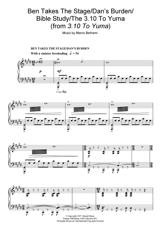 Download Marco Beltrami 'Ben Takes The Stage/Dan's Burden/Bible Study/The 3:10 To Yuma (from 3:10 To Yuma)' Digital Sheet Music Notes & Chords and start playing in minutes