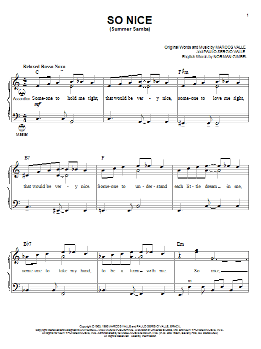 Marcos Valle So Nice (Summer Samba) sheet music preview music notes and score for Guitar Tab including 2 page(s)