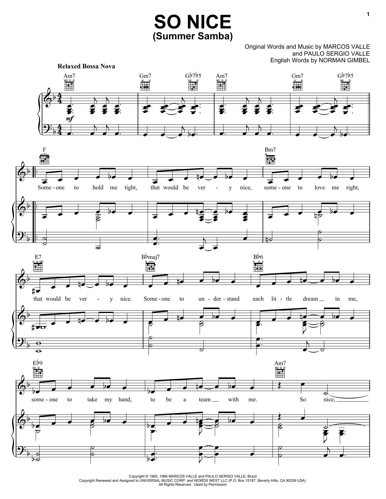 Marcos Valle So Nice (Summer Samba) sheet music preview music notes and score for Piano, Vocal & Guitar (Right-Hand Melody) including 3 page(s)