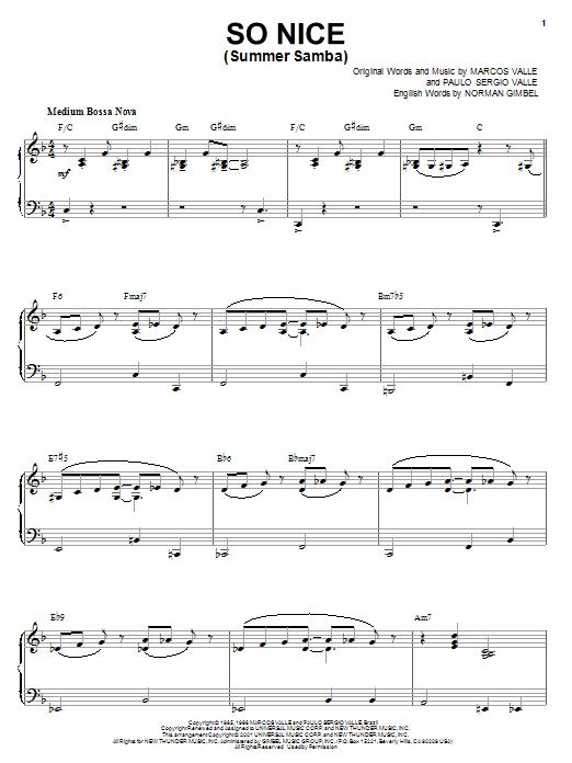 Marcos Valle So Nice (Summer Samba) sheet music notes and chords