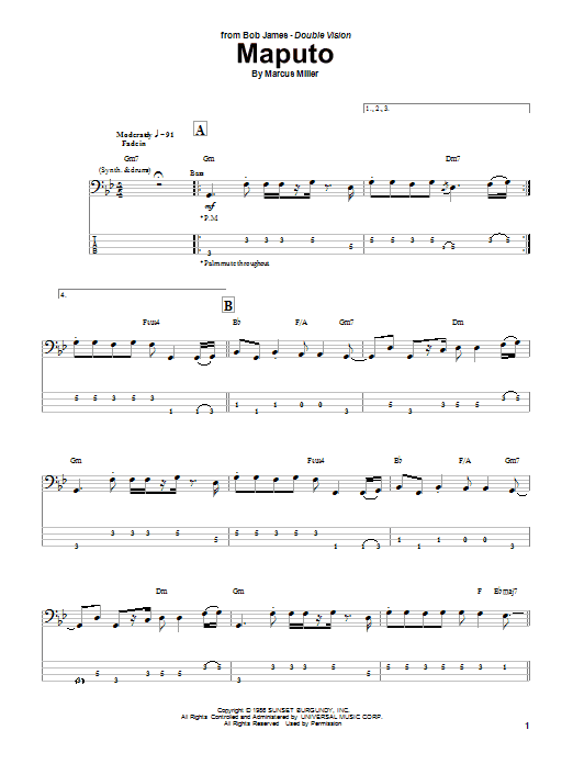 Download Marcus Miller 'Maputo' Digital Sheet Music Notes & Chords and start playing in minutes
