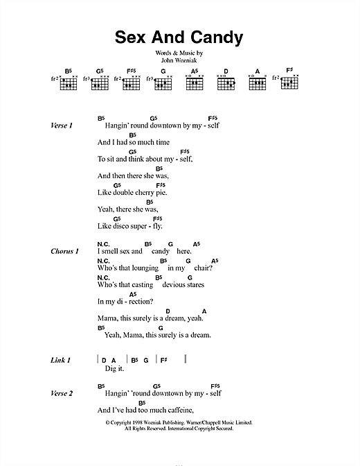 Marcy Playground Sex And Candy sheet music preview music notes and score for Piano, Vocal & Guitar (Right-Hand Melody) including 3 page(s)