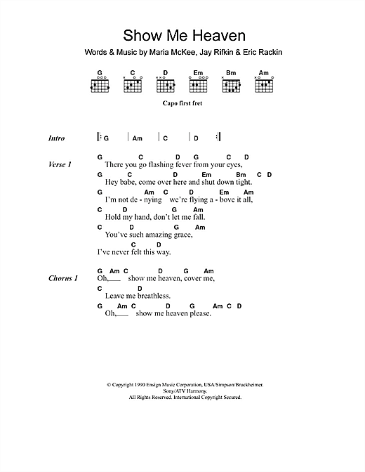 Maria McKee Show Me Heaven sheet music notes and chords
