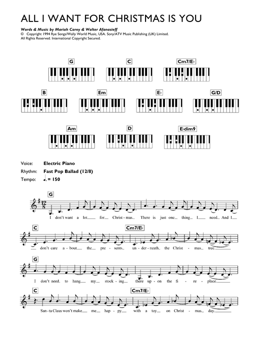 Mariah Carey All I Want For Christmas Is You sheet music preview music notes and score for Beginner Piano including 3 page(s)
