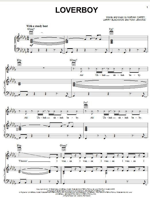 Mariah Carey Loverboy sheet music notes and chords