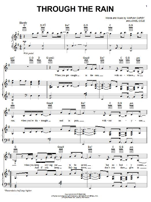 Mariah Carey Through The Rain sheet music notes and chords