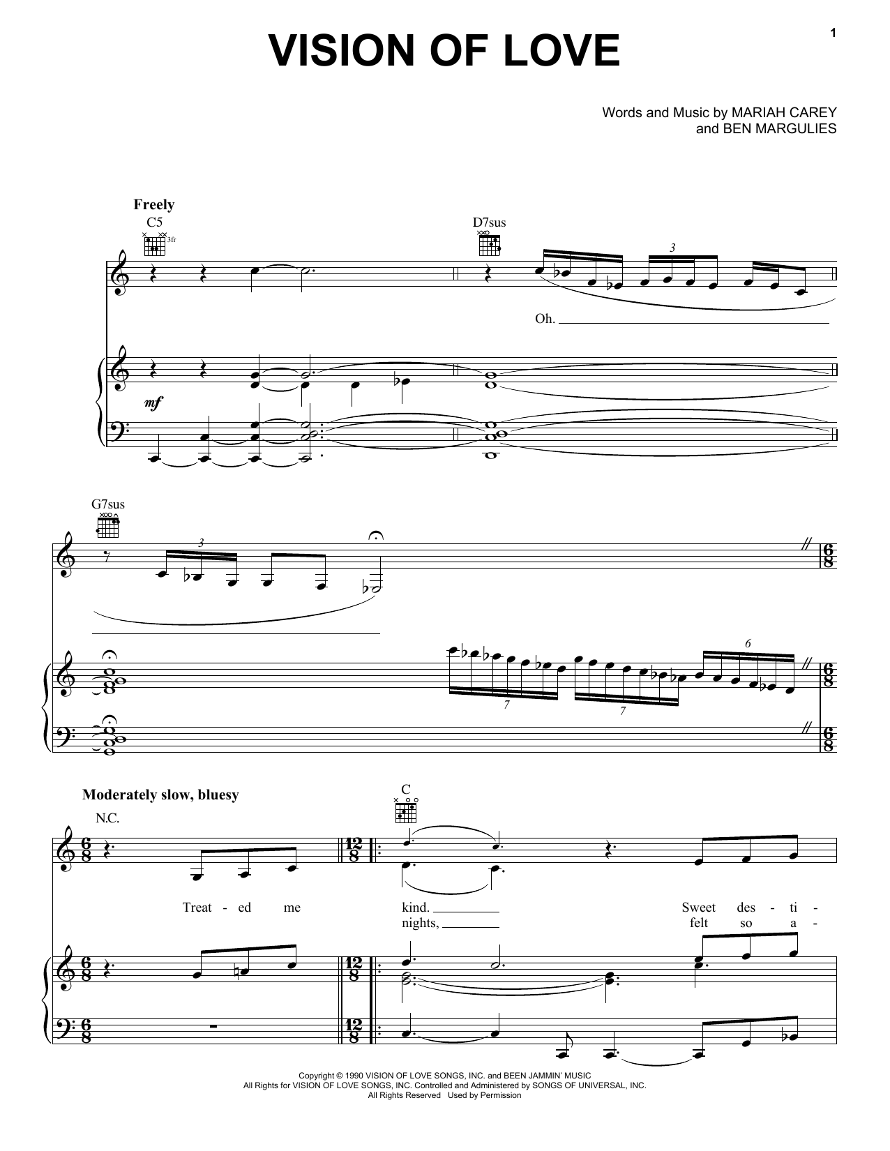 Mariah Carey Vision Of Love sheet music preview music notes and score for E-Z Play Today including 7 page(s)