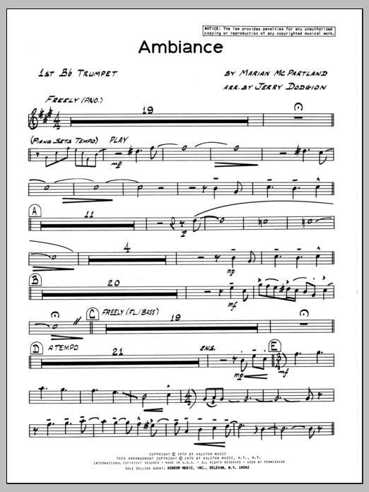 Marian McPartland Ambiance - 1st Bb Trumpet sheet music preview music notes and score for Jazz Ensemble including 2 page(s)