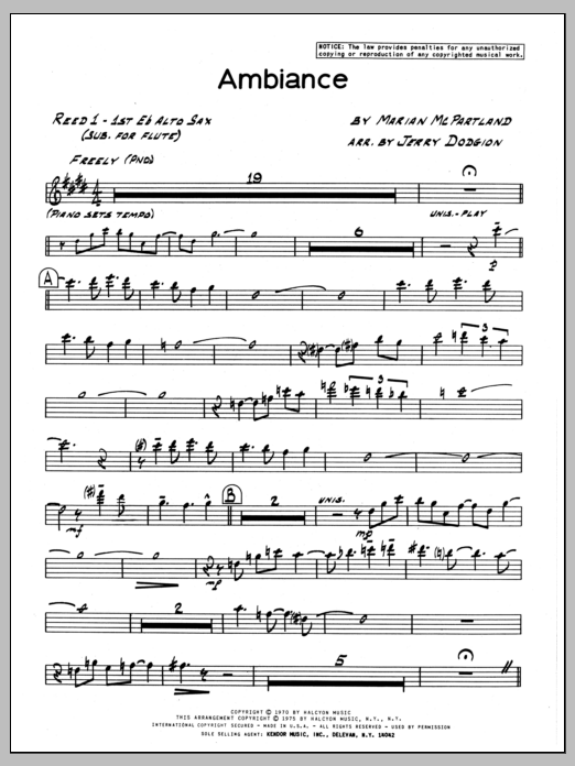 Marian McPartland Ambiance - 1st Eb Alto Saxophone sheet music preview music notes and score for Jazz Ensemble including 3 page(s)