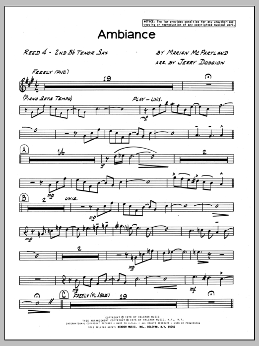 Marian McPartland Ambiance - 2nd Bb Tenor Saxophone sheet music preview music notes and score for Jazz Ensemble including 2 page(s)