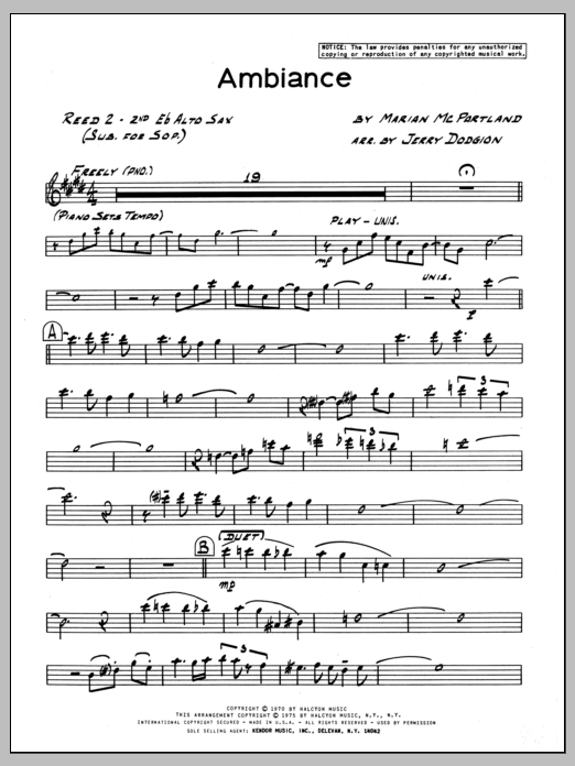 Marian McPartland Ambiance - 2nd Eb Alto Saxophone sheet music preview music notes and score for Jazz Ensemble including 3 page(s)