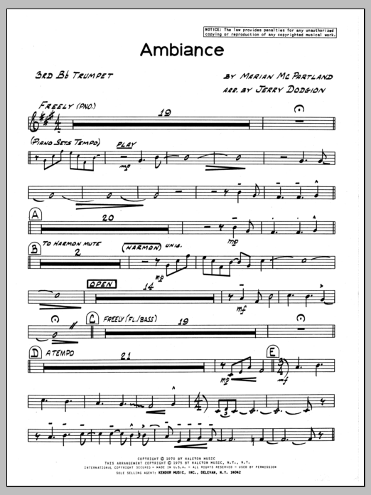 Marian McPartland Ambiance - 3rd Bb Trumpet sheet music preview music notes and score for Jazz Ensemble including 2 page(s)