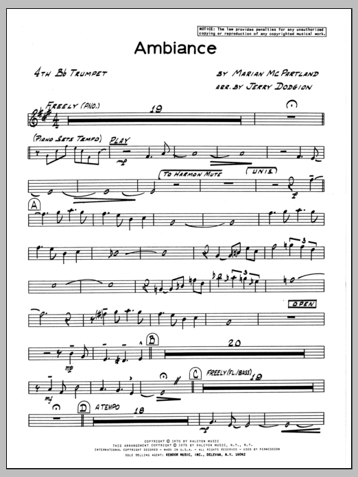 Marian McPartland Ambiance - 4th Bb Trumpet sheet music preview music notes and score for Jazz Ensemble including 2 page(s)