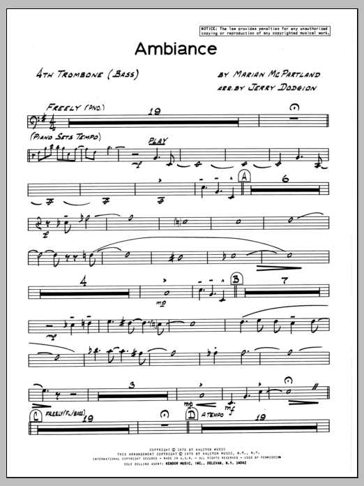 Marian McPartland Ambiance - 4th Trombone sheet music preview music notes and score for Jazz Ensemble including 2 page(s)