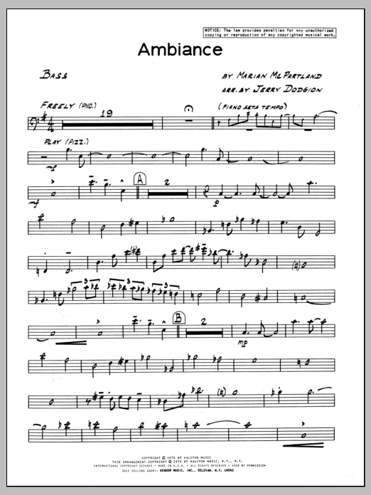 Marian McPartland Ambiance - Bass sheet music preview music notes and score for Jazz Ensemble including 3 page(s)
