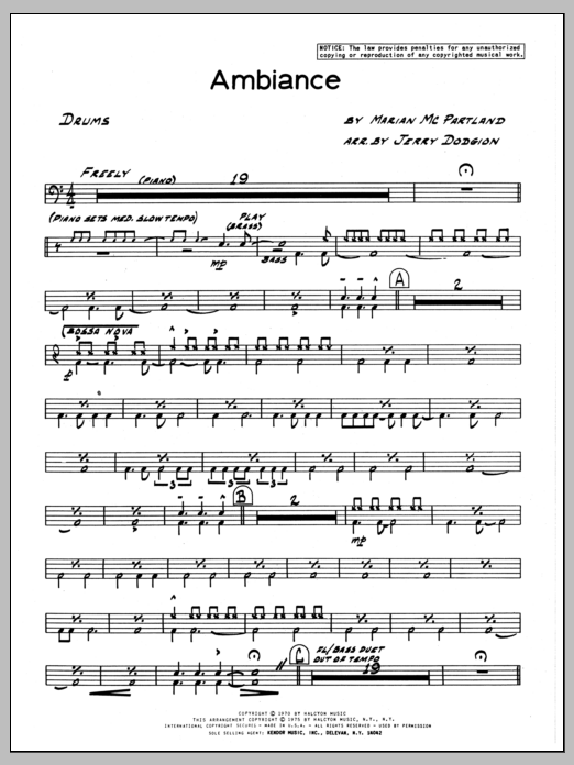 Marian McPartland Ambiance - Drums sheet music preview music notes and score for Jazz Ensemble including 2 page(s)