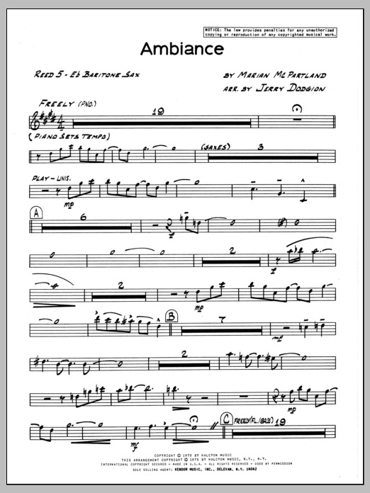 Marian McPartland Ambiance - Eb Baritone Sax sheet music preview music notes and score for Jazz Ensemble including 2 page(s)