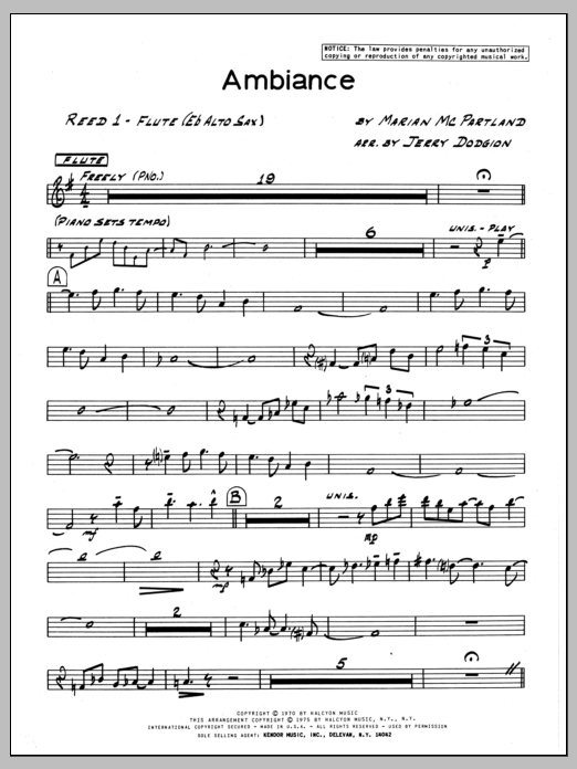 Marian McPartland Ambiance - Flute sheet music preview music notes and score for Jazz Ensemble including 3 page(s)