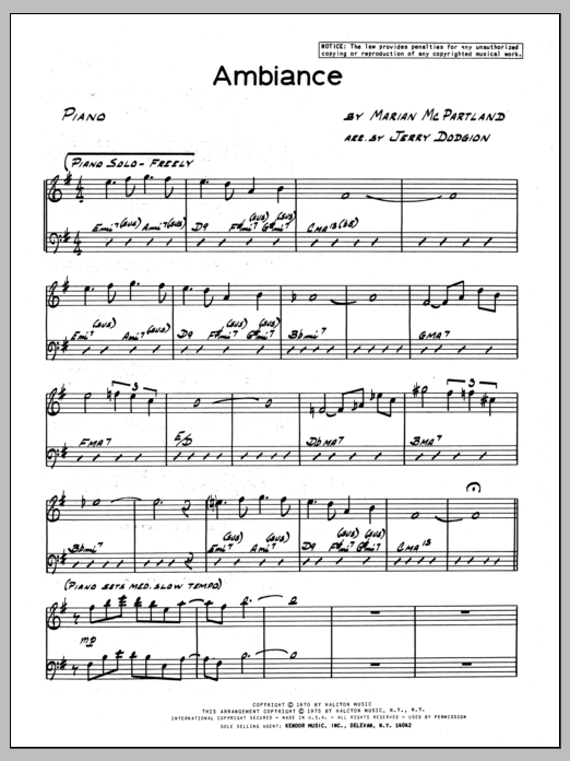 Marian McPartland Ambiance - Piano sheet music preview music notes and score for Jazz Ensemble including 4 page(s)