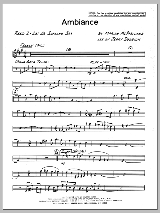 Marian McPartland Ambiance - Soprano Sax sheet music preview music notes and score for Jazz Ensemble including 3 page(s)
