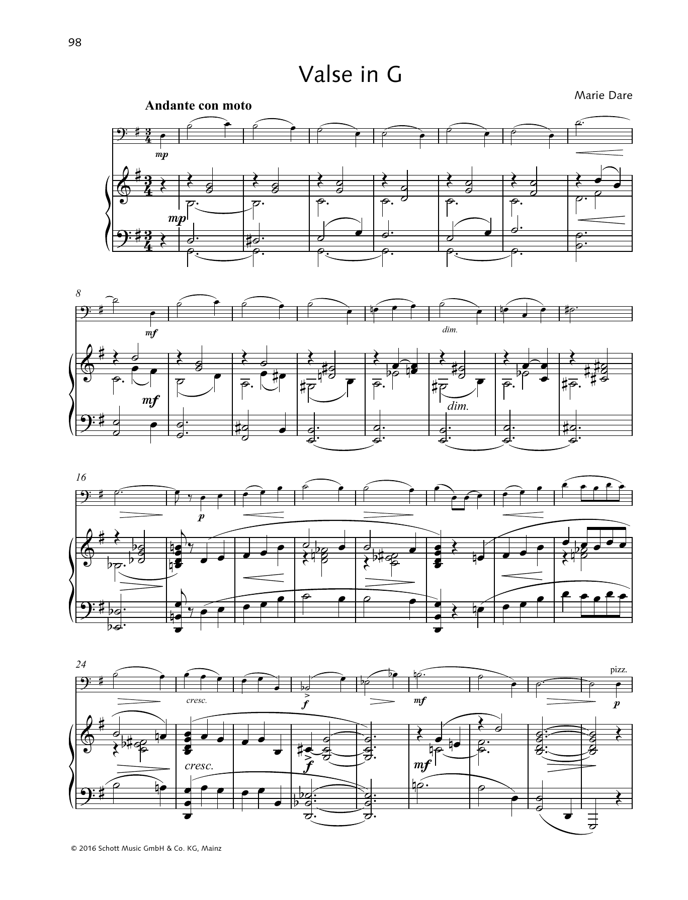 Marie Dare Valse in G sheet music preview music notes and score for String Solo including 6 page(s)