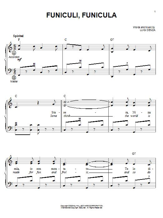 Mario Lanza Funiculi, Funicula sheet music notes and chords