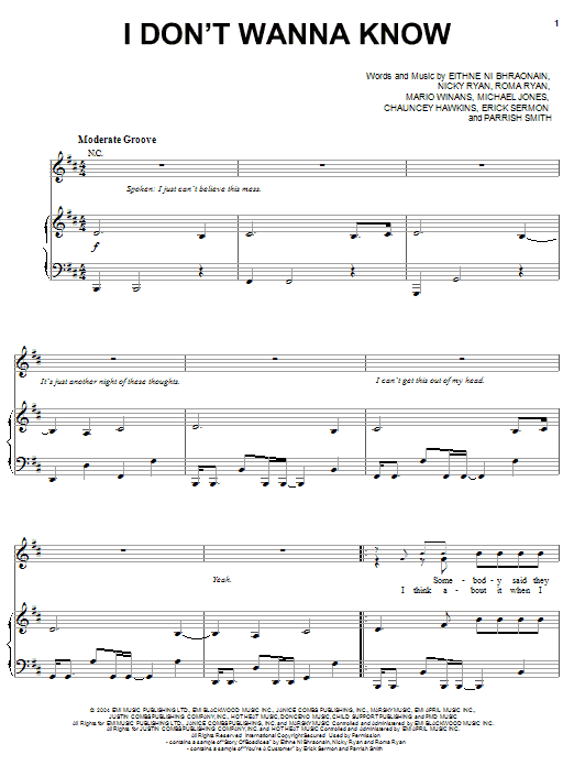 Mario Winans I Don't Wanna Know (feat. Enya & P. Diddy) sheet music preview music notes and score for Piano, Vocal & Guitar (Right-Hand Melody) including 6 page(s)