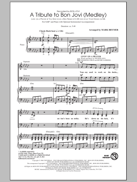Mark Brymer A Tribute To Bon Jovi (Medley) sheet music preview music notes and score for SAB including 19 page(s)