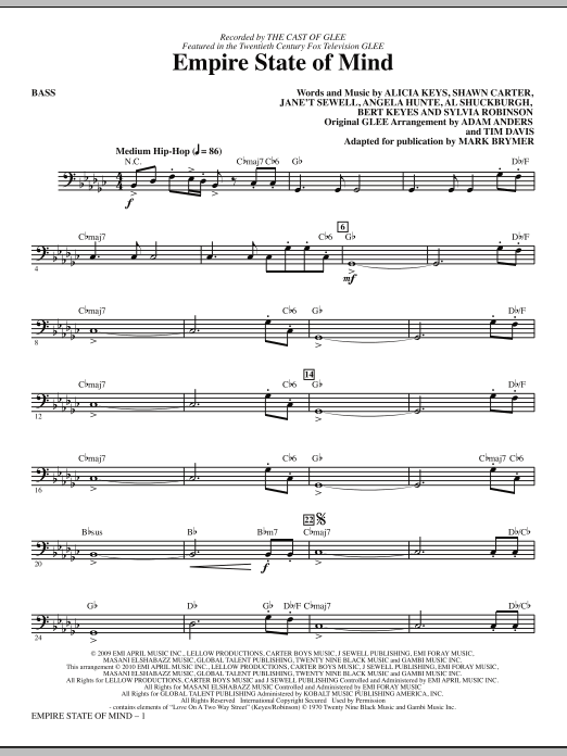 Download Mark Brymer 'Empire State Of Mind - Bass' Digital Sheet Music Notes & Chords and start playing in minutes