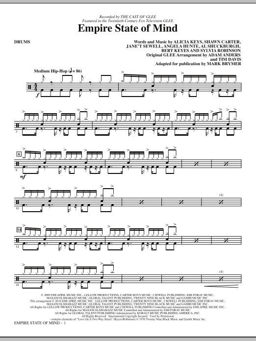 Download Mark Brymer 'Empire State Of Mind - Drums' Digital Sheet Music Notes & Chords and start playing in minutes