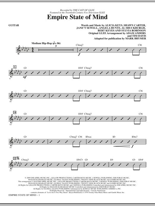 Download Mark Brymer 'Empire State Of Mind - Guitar' Digital Sheet Music Notes & Chords and start playing in minutes