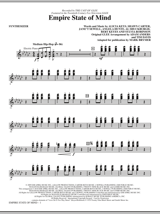 Download Mark Brymer 'Empire State Of Mind - Synthesizer' Digital Sheet Music Notes & Chords and start playing in minutes